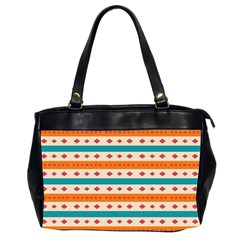 Rhombus And Stripes Pattern      Oversize Office Handbag (2 Sides) by LalyLauraFLM