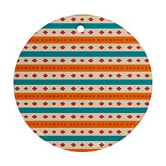 Rhombus And Stripes Pattern      ornament (round) by LalyLauraFLM