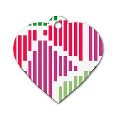 Vertical Stripes    dog Tag Heart (one Side) by LalyLauraFLM