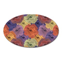 Vintage Floral Collage Pattern Oval Magnet by dflcprints