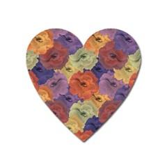 Vintage Floral Collage Pattern Heart Magnet by dflcprints
