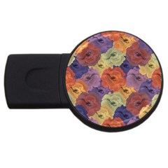 Vintage Floral Collage Pattern Usb Flash Drive Round (2 Gb)  by dflcprints