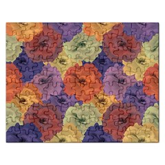 Vintage Floral Collage Pattern Rectangular Jigsaw Puzzl by dflcprints