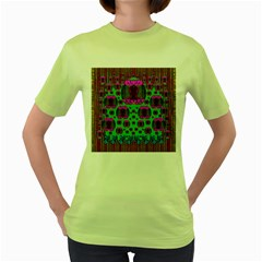 Ladies Looking At Beauty And Love Women s Green T Shirt by pepitasart
