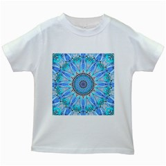 Sapphire Ice Flame, Light Bright Crystal Wheel Kids White T Shirts by DianeClancy