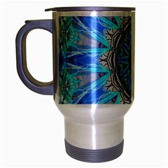 Sapphire Ice Flame, Light Bright Crystal Wheel Travel Mug (silver Gray) by DianeClancy
