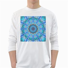 Sapphire Ice Flame, Light Bright Crystal Wheel White Long Sleeve T Shirts by DianeClancy