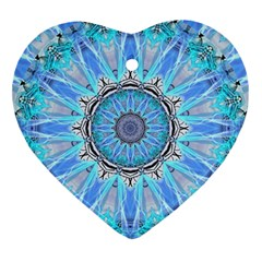 Sapphire Ice Flame, Light Bright Crystal Wheel Heart Ornament (2 Sides) by DianeClancy