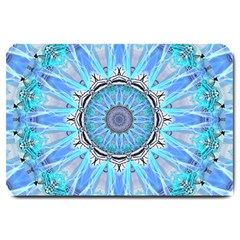 Sapphire Ice Flame, Light Bright Crystal Wheel Large Doormat  by DianeClancy