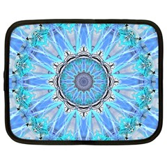 Sapphire Ice Flame, Light Bright Crystal Wheel Netbook Case (xl)  by DianeClancy