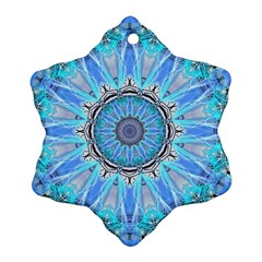 Sapphire Ice Flame, Light Bright Crystal Wheel Snowflake Ornament (2 Side) by DianeClancy
