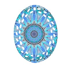 Sapphire Ice Flame, Light Bright Crystal Wheel Oval Filigree Ornament (2 Side)  by DianeClancy