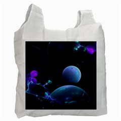 The Music Of My Goddess, Abstract Cyan Mystery Planet Recycle Bag (one Side) by DianeClancy