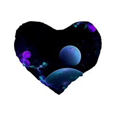 The Music Of My Goddess, Abstract Cyan Mystery Planet Standard 16  Premium Flano Heart Shape Cushions by DianeClancy