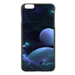 The Music Of My Goddess, Abstract Cyan Mystery Planet Apple Iphone 6 Plus/6s Plus Black Enamel Case by DianeClancy