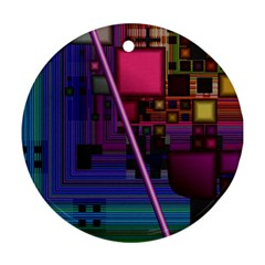 Jewel City, Radiant Rainbow Abstract Urban Ornament (round)  by DianeClancy