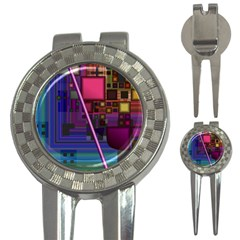 Jewel City, Radiant Rainbow Abstract Urban 3 In 1 Golf Divots by DianeClancy