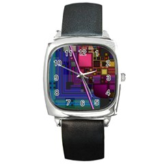 Jewel City, Radiant Rainbow Abstract Urban Square Metal Watch by DianeClancy