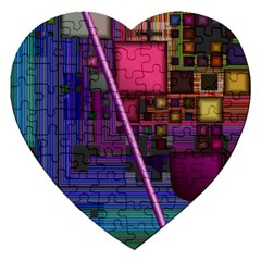 Jewel City, Radiant Rainbow Abstract Urban Jigsaw Puzzle (heart) by DianeClancy