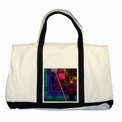 Jewel City, Radiant Rainbow Abstract Urban Two Tone Tote Bag by DianeClancy