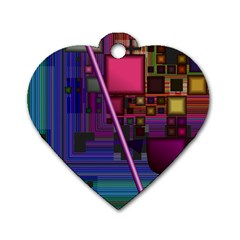 Jewel City, Radiant Rainbow Abstract Urban Dog Tag Heart (two Sides) by DianeClancy