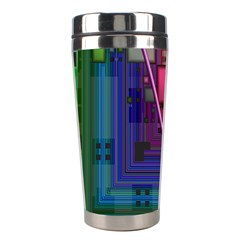 Jewel City, Radiant Rainbow Abstract Urban Stainless Steel Travel Tumblers by DianeClancy