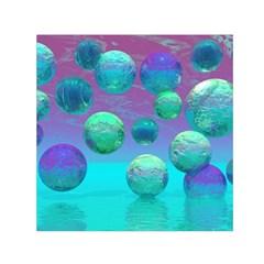 Ocean Dreams, Abstract Aqua Violet Ocean Fantasy Small Satin Scarf (square) by DianeClancy