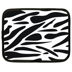 Zebra Stripes Skin Pattern Black And White Netbook Case (large) by CircusValleyMall