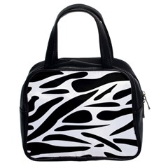 Zebra Stripes Skin Pattern Black And White Classic Handbags (2 Sides) by CircusValleyMall