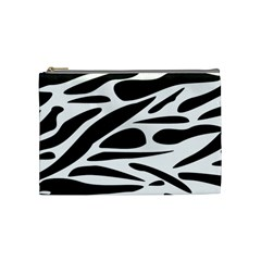 Zebra Stripes Skin Pattern Black And White Cosmetic Bag (medium)  by CircusValleyMall