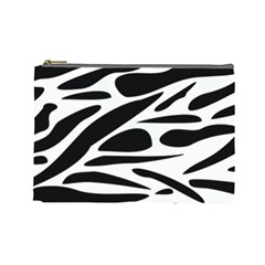 Zebra Stripes Skin Pattern Black And White Cosmetic Bag (large)  by CircusValleyMall