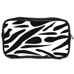 Zebra Stripes Skin Pattern Black And White Toiletries Bags by CircusValleyMall