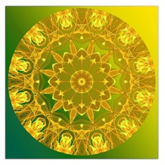 Yellow Green Abstract Wheel Of Fire Large Satin Scarf (square) by DianeClancy