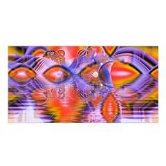 Crystal Star Dance, Abstract Purple Orange Satin Shawl by DianeClancy