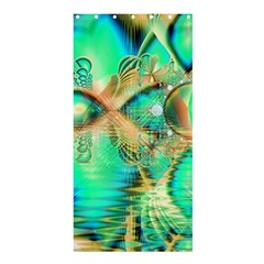 Golden Teal Peacock, Abstract Copper Crystal Shower Curtain 36  X 72  (stall)  by DianeClancy
