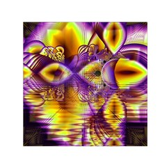Golden Violet Crystal Palace, Abstract Cosmic Explosion Small Satin Scarf (square) by DianeClancy