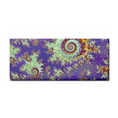 Sea Shell Spiral, Abstract Violet Cyan Stars Hand Towel by DianeClancy