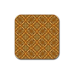 Luxury Check Ornate Pattern Rubber Coaster (square)  by dflcprints