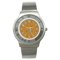 Luxury Check Ornate Pattern Stainless Steel Watch by dflcprints