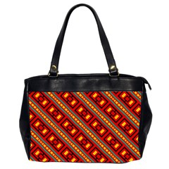 Distorted Stripes And Rectangles Pattern      Oversize Office Handbag (2 Sides) by LalyLauraFLM