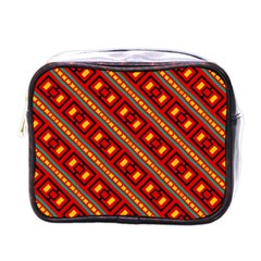 Distorted Stripes And Rectangles Pattern      mini Toiletries Bag (one Side) by LalyLauraFLM