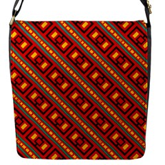Distorted Stripes And Rectangles Pattern      			flap Closure Messenger Bag (s) by LalyLauraFLM