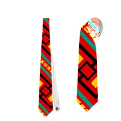 Distorted Stripes And Rectangles Pattern      Necktie by LalyLauraFLM