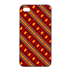 Distorted Stripes And Rectangles Pattern      			apple Iphone 4/4s Seamless Case (black) by LalyLauraFLM
