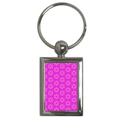 Pink Snowflakes Spinning In Winter Key Chains (rectangle)  by DianeClancy