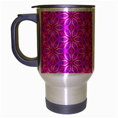 Pink Snowflakes Spinning In Winter Travel Mug (silver Gray) by DianeClancy