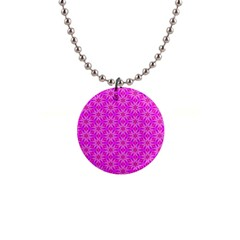 Pink Snowflakes Spinning In Winter Button Necklaces by DianeClancy