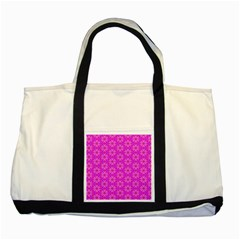 Pink Snowflakes Spinning In Winter Two Tone Tote Bag by DianeClancy
