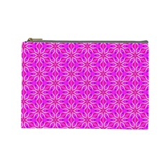 Pink Snowflakes Spinning In Winter Cosmetic Bag (large)  by DianeClancy