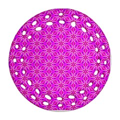 Pink Snowflakes Spinning In Winter Ornament (round Filigree)  by DianeClancy